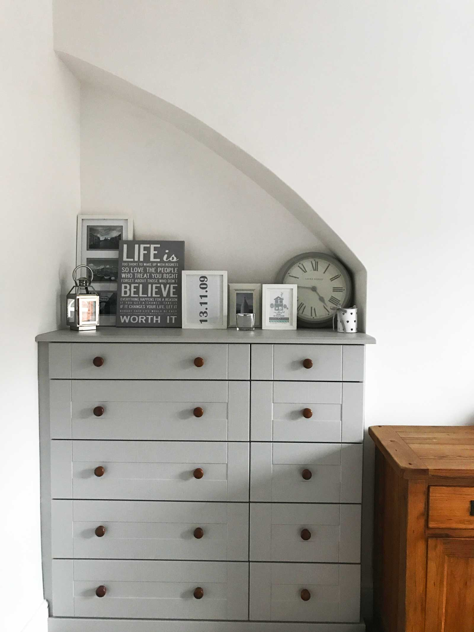 Bedroom chest of drawers: love the modern country look? Check out Kate's home tour on www.lovetohome.co.uk
