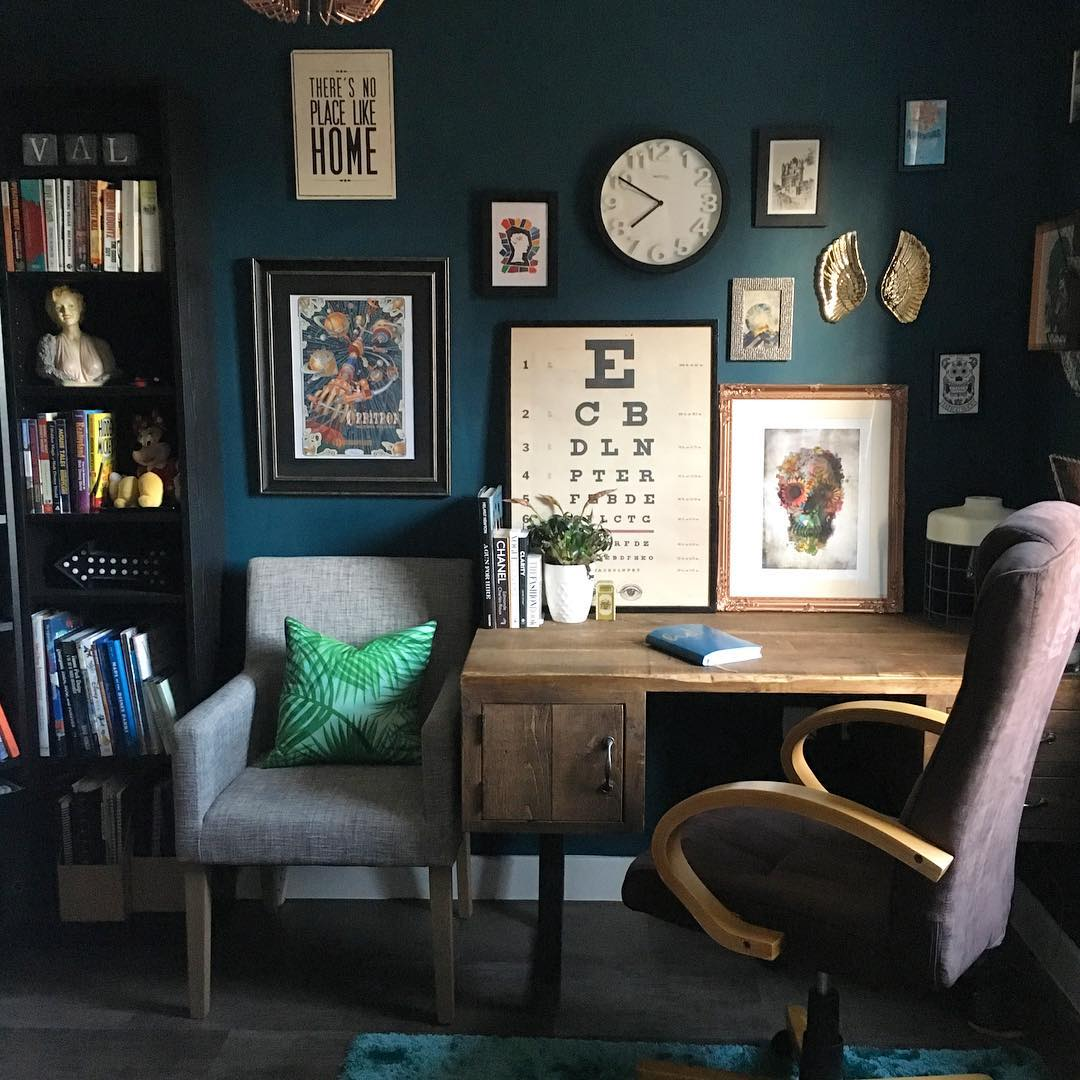 Dark and cosy blue office. This is not your average magnolia new build. www.lovetohome.co.uk Photo credit: @projecthomedesign via Instagram