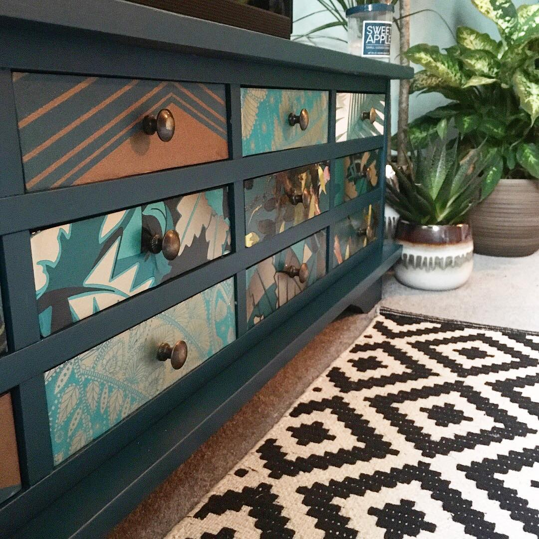 Upycled sideboard with pattern and print. This is not your average magnolia new build. www.lovetohome.co.uk Photo credit: @projecthomedesign via Instagram