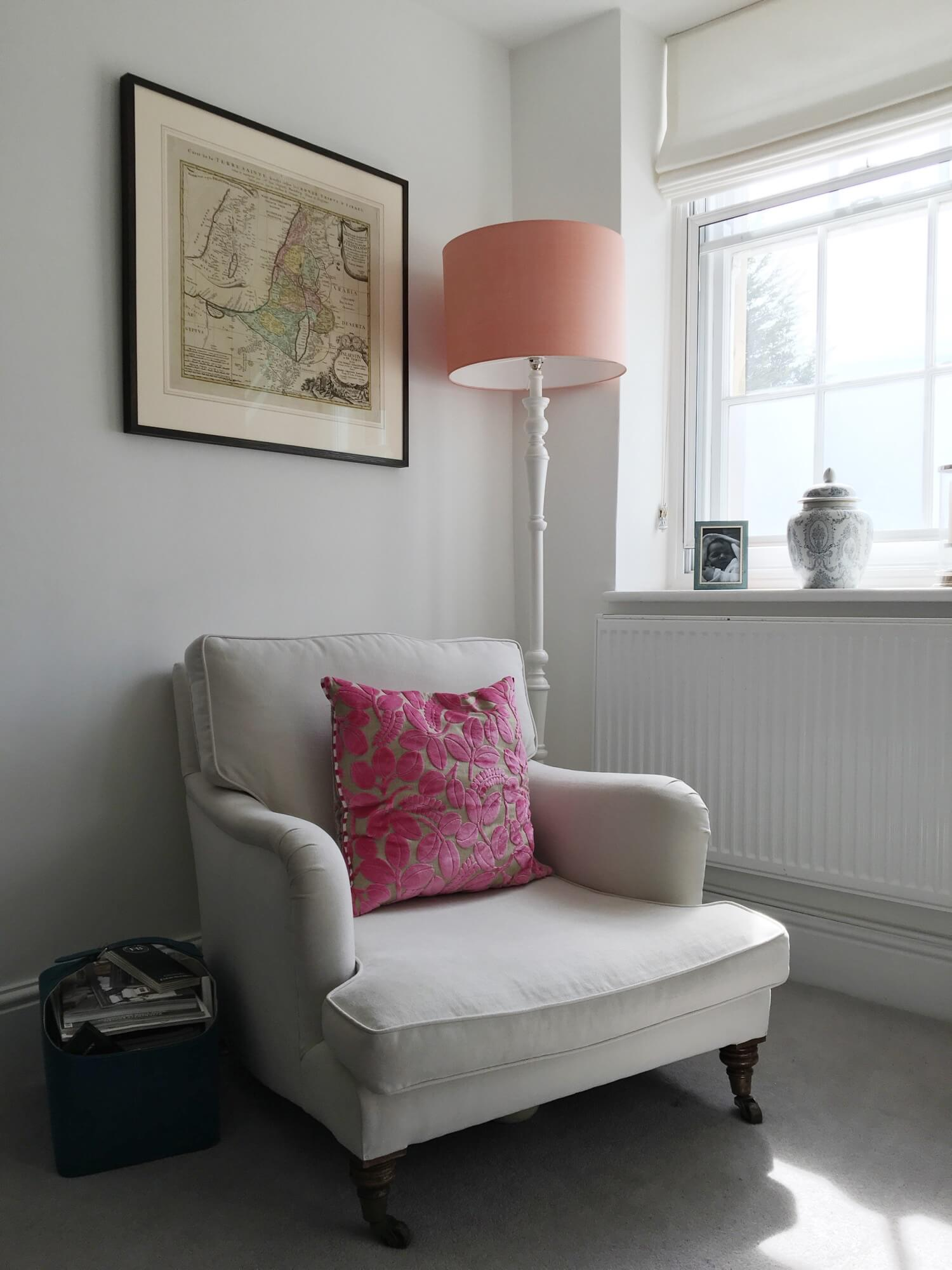 This reupholstered armchair is part of Sarah's Georgian living room tour