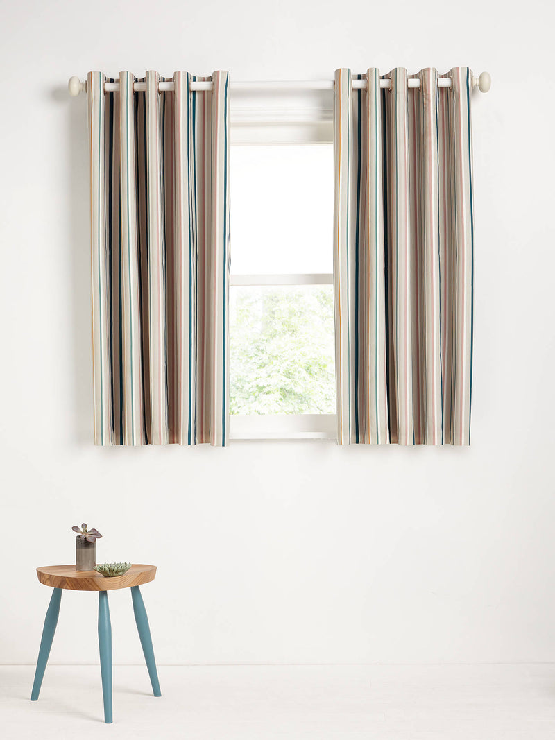 Ombre Stripe Pair Blackout Lined Eyelet Curtains, Multi
