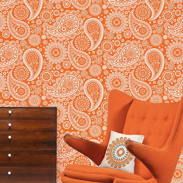 Paisley Crescent  by Mini Moderns - Tangerine Dream Wallpaper