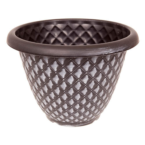 Pinecone Round Planter 34cm (13in) Black with Silver