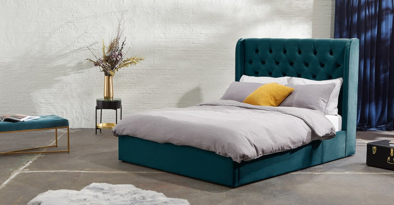 Custom MADE Romare Super King size Bed with Ottoman, Bottle Green Velvet