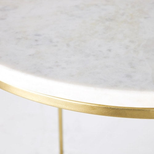 2 x Golden Metal and White Marble Bedside Tables