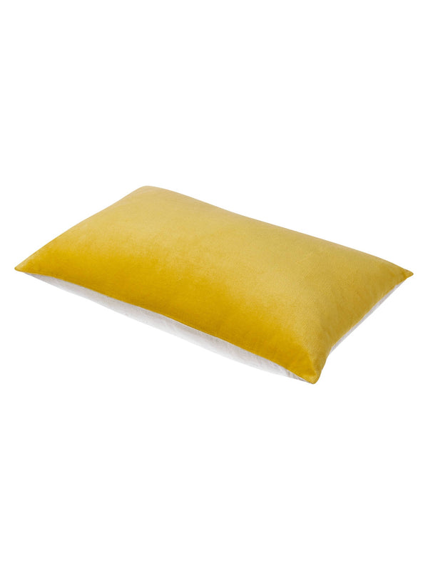 Rectangular Cotton Velvet Cushion, Yellow
