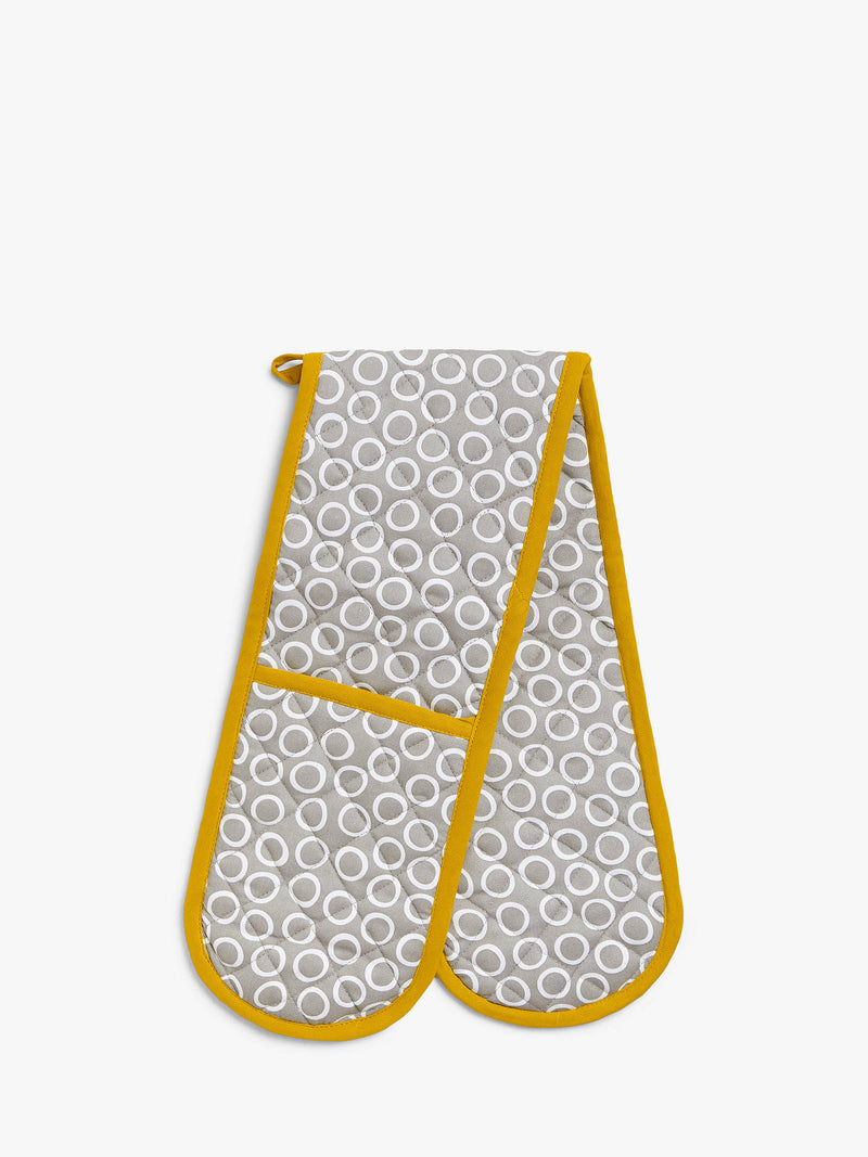 John Lewis & Partners Spot Double Oven Glove, Grey/Yellow