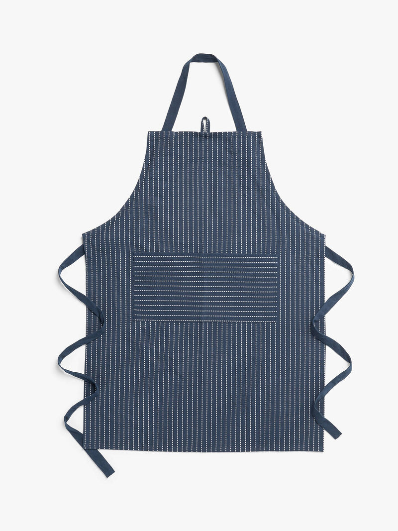 John Lewis & Partners Butcher's Stripe Apron, Dark Blue