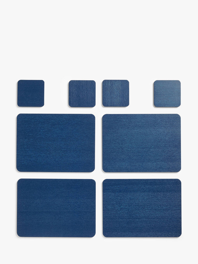 House by John Lewis Placemats & Coasters, Set of 4, Navy