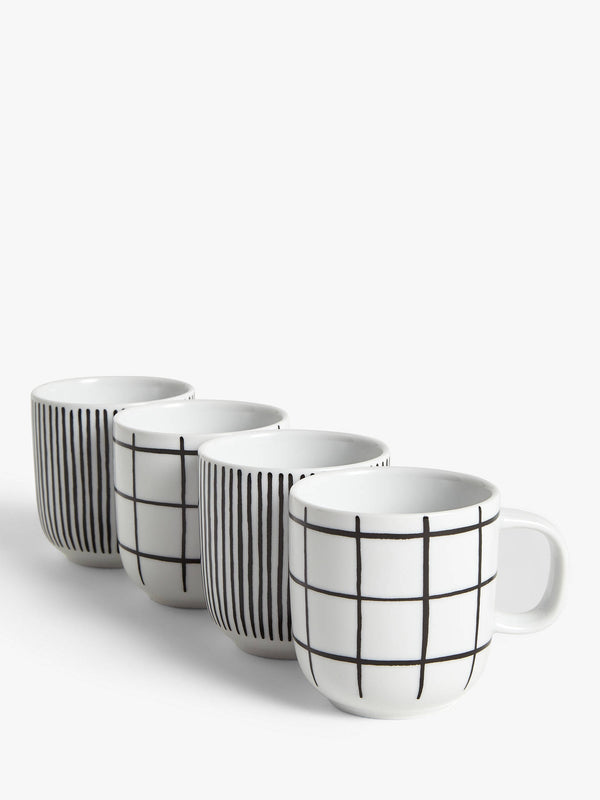 Set of 4 Linear Mugs - White/Black