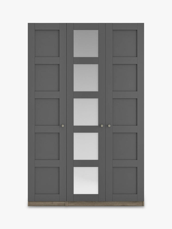 Tall Panelled Triple Mirrored Wardrobe - Grey Ash/Matt Graphite