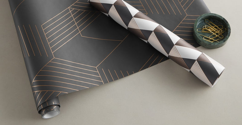 Pascal Geo Wallpaper, 10m Roll, Iron Grey & Copper