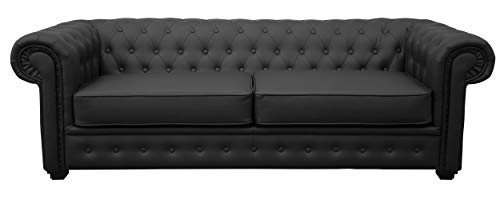 Chesterfield Style Venus Sofa 3 Seater 2 Seater Armchair Black Faux Leather