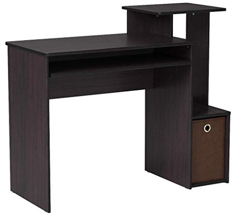 Furinno Econ Multipurpose Home Office Computer Writing Desk w/Bin, Dark Walnut