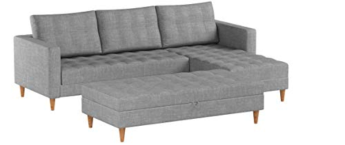 Selsey-Living Copenhagen-Corner Lounge/Sofa Bed in Beautiful Savanna Grey Fabric