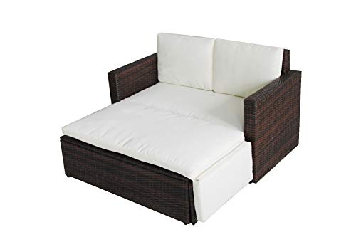 Evre Outdoor Rattan Garden Love Bed Furniture Set