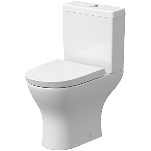 Modern Toilet Close Coupled WC Short Projection Soft Close Seat