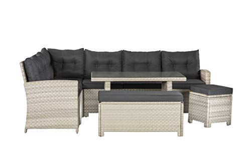 10 Seater Casual Dining Rattan Garden Set with Cushions, Grey