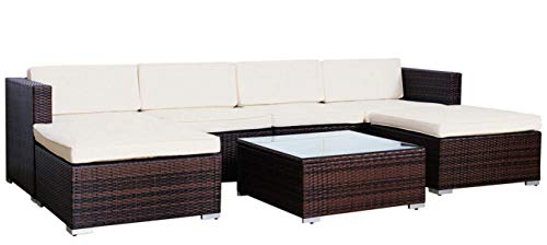 Evre Rattan Outdoor Garden Furniture Set 6 Seater Sofa with Coffee Table