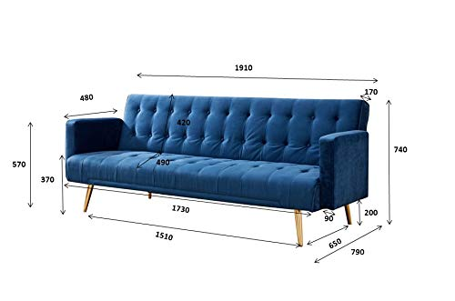 Home Detail Velvet Three Seater Sofa Bed in Grey Pink Blue or Green with Contrast Golden or Rose Gold Finish Legs