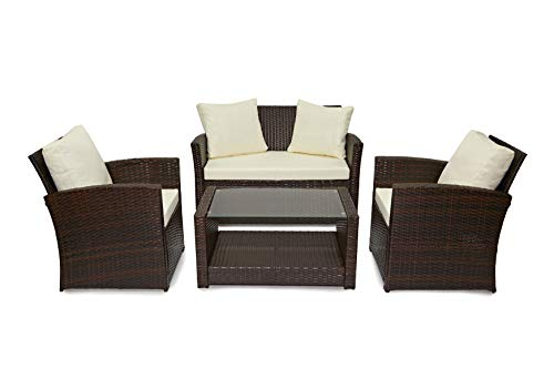 Evre Rattan Garden Outdoor Furniture Patio Roma Sofa Set