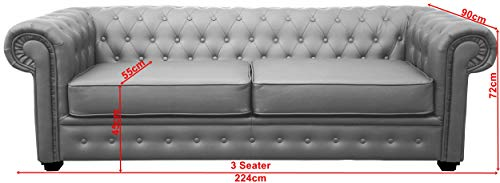 Chesterfield Style Venus Sofa 3 Seater 2 Seater Armchair Grey Faux Leatherr