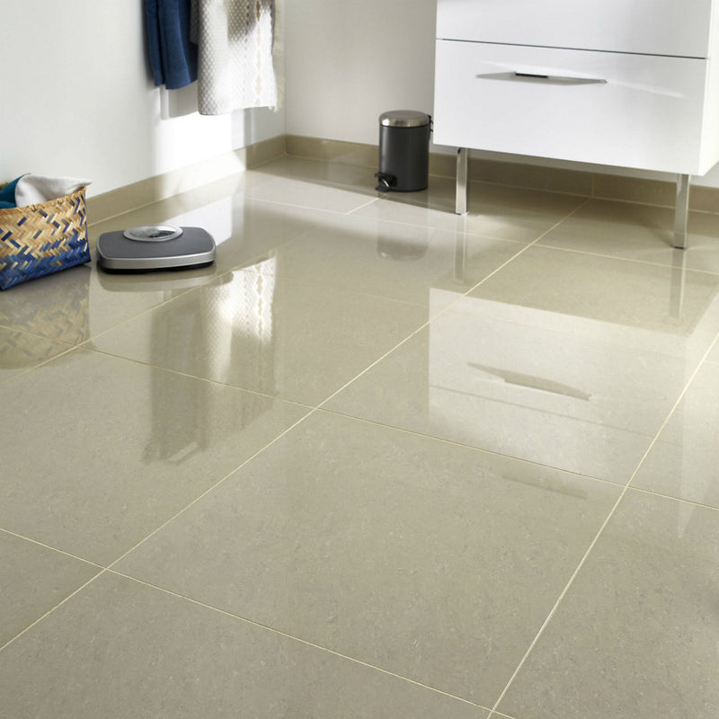 Modenia Beige Travertine effect Porcelain Floor tile, Pack of 3