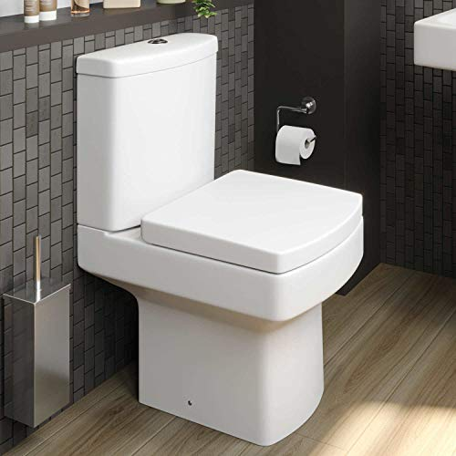 Modern Bathroom Square Toilet Close Coupled WC Soft Close Seat