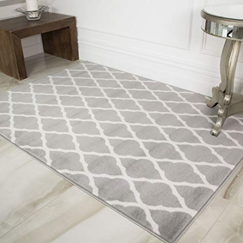 Milan Soft Touch Classic Grey Trellis Print Rug