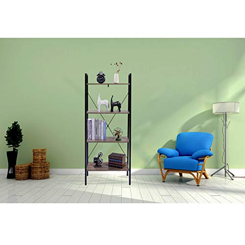WOLTU Heavy Duty 4-Tier Ladder Bookshelf Shelving Unit Wood Bookcase