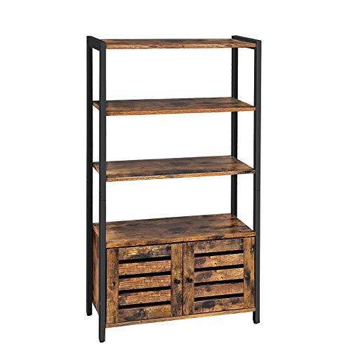 VASAGLE Bookcase, Floor-Standing Storage Cabinet and Cupboard with 2 Louvred Doors and 3 Shelves
