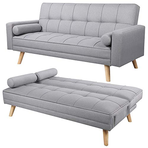 Yaheetech Fabric Padded Sofabed 3 Seater Durable Hardwood Frame