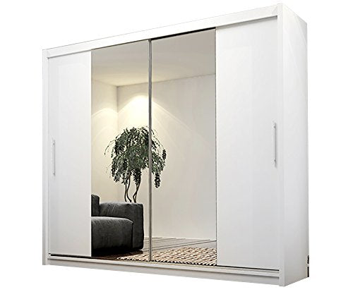 ALAYNA 4 Mirror Sliding Doors Modern Bedroom Wardrobe