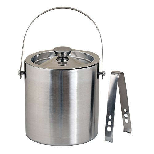 Kosma Stainless Steel Double Wall Ice Bucket with Tongs | Ice Cube Bucket - 1.5 Litre