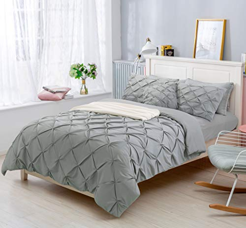 Aaryan Linen Pinch Pleat Pintuck Duvet Cover Set