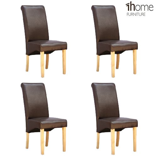 1home Set of 4 Faux Leather Dining Chairs