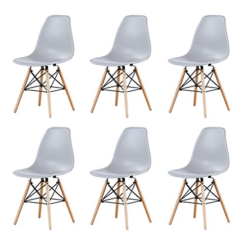 AINPECCA Set of 6 Eiffel Dining Chairs Plastic Seat with Solid Beech Wooden Legs