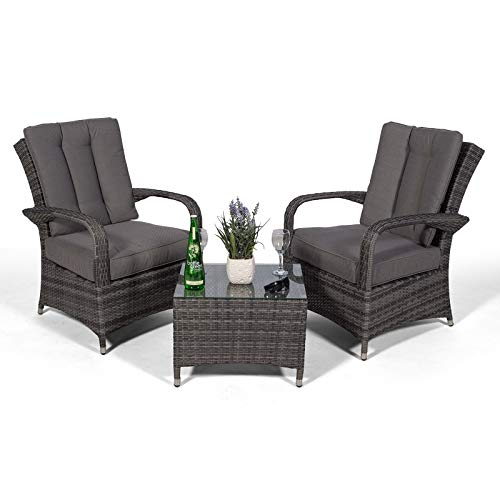 Arizona Rattan 2 Seat Arm Chair set & Small Glass Table