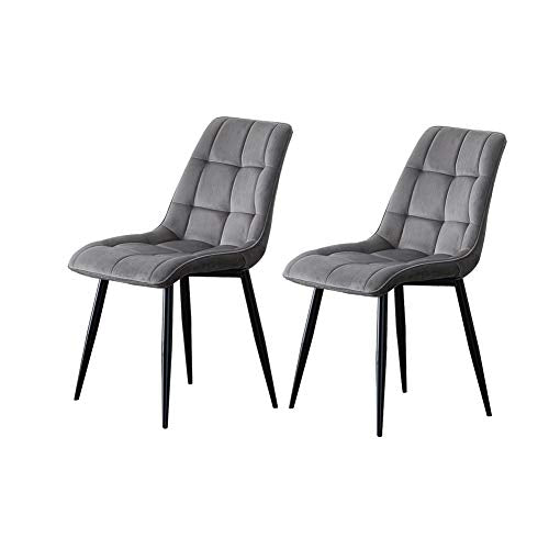 TUKAILAI Set of 2 Grey Velvet Dining Chairs