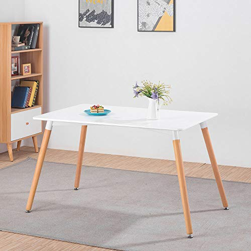 KOSY KOALA White Wood Style Dining Table and 4 Chairs Set