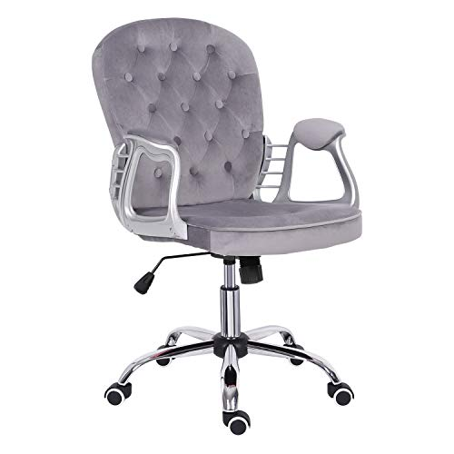 Grey Velvet Computer Chair