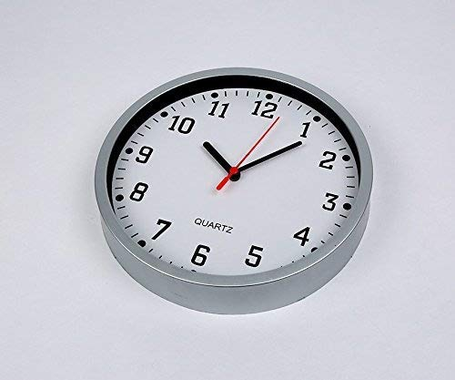 REAL ACCESSORIES® Large Silver Round Stylish Modern Wall Clock