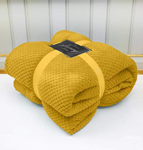QM-Bedding® Luxuries POPCORN Ochre/Mustard Throw
