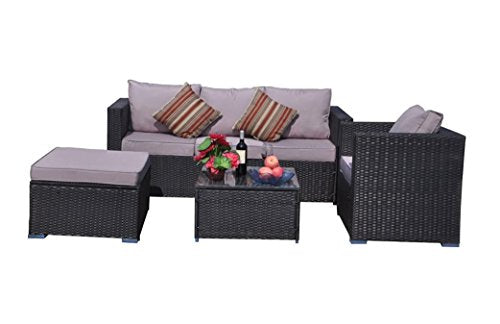 YAKOE Rattan 5-Seater Garden Furniture Sofa Table Chairs Set