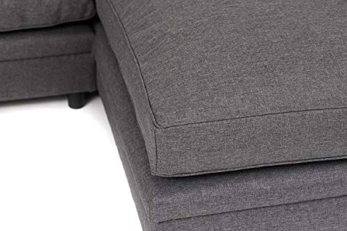 Abakus Direct Darcy Corner Group Settee Right or Left in Dark Grey Linen Fabric
