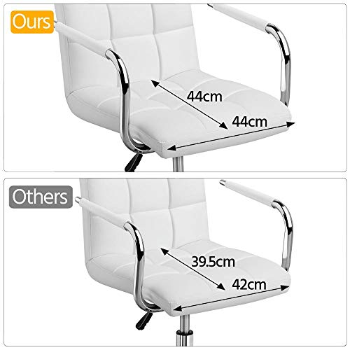 Yaheetech White Office Chair Adjustable Faux Leather Swivel Desk Chair