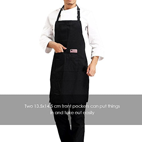 InnoGear 2 Pack Unisex Adjustable Bib Apron with 2 Pockets