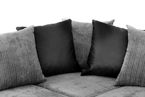 Abakus Direct ® Dylan Byron Corner Group Sofa Black and Charcoal Right or Left
