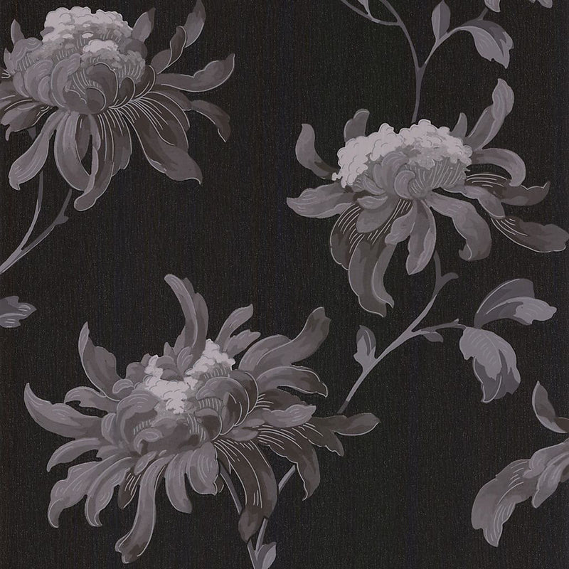 Graham & Brown Julien Macdonald Fabulous Black & grey Floral Glitter effect Wallpaper