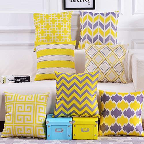 Yellow Pillow Cushion Covers - Set of 4